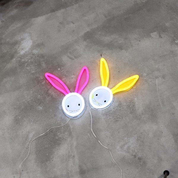 Foto neones conejos juntos