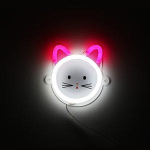 Foto neones gato rosa